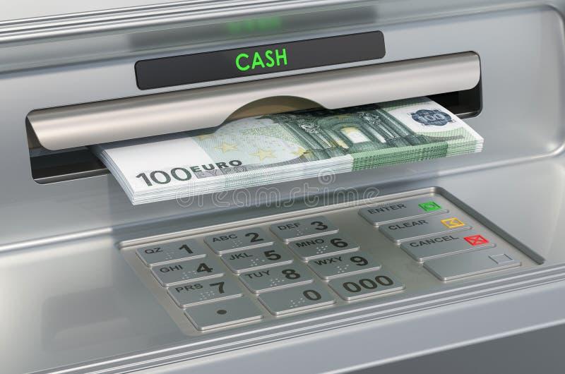 有欧元的ATM机器 撤出欧元钞票,3D翻译 皇族释放例证