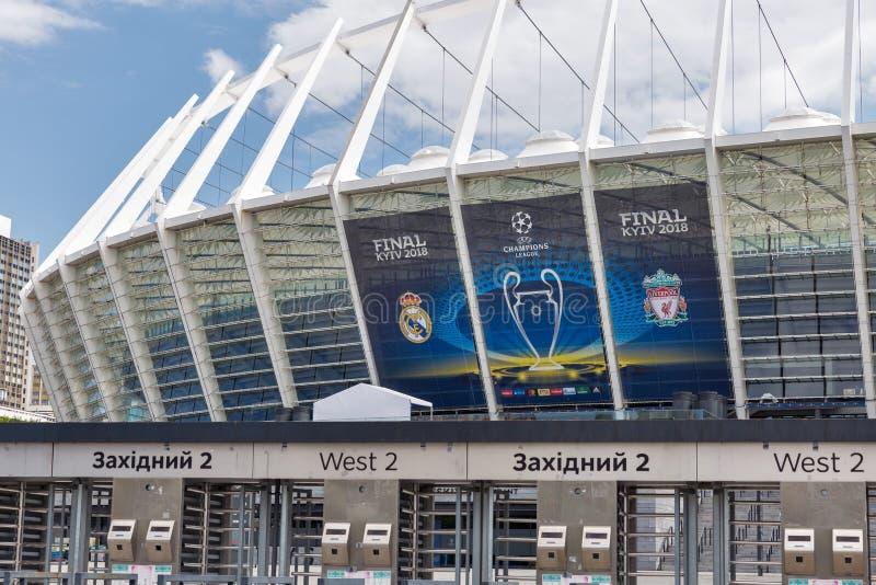 有欧洲联赛冠军杯决赛横幅的Olimpiyskiy体育场 基辅,乌克兰 免版税库存照片