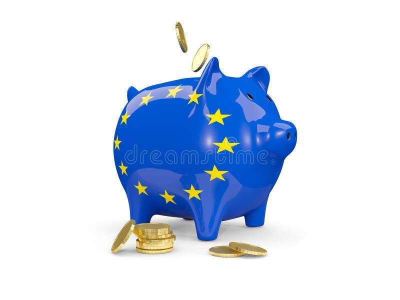 有欧盟旗子的肥胖存钱罐  皇族释放例证