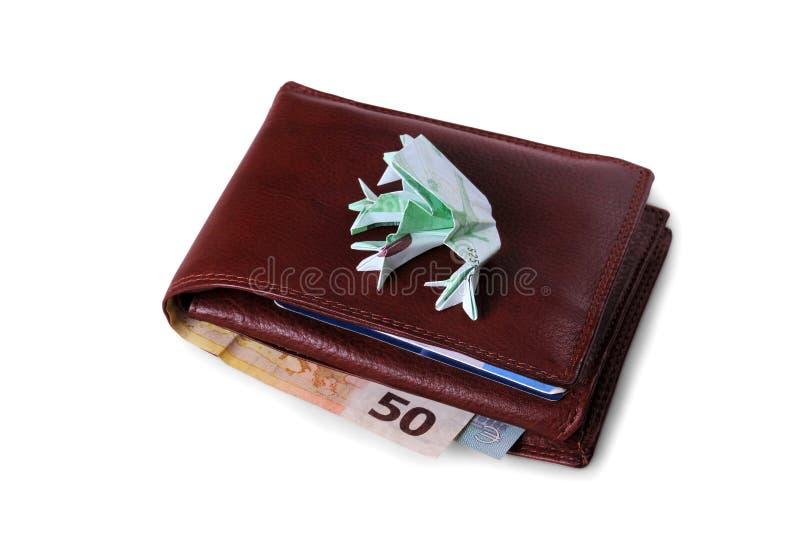 有欧洲票据和数百的钱包欧元蟾蜍 免版税库存照片