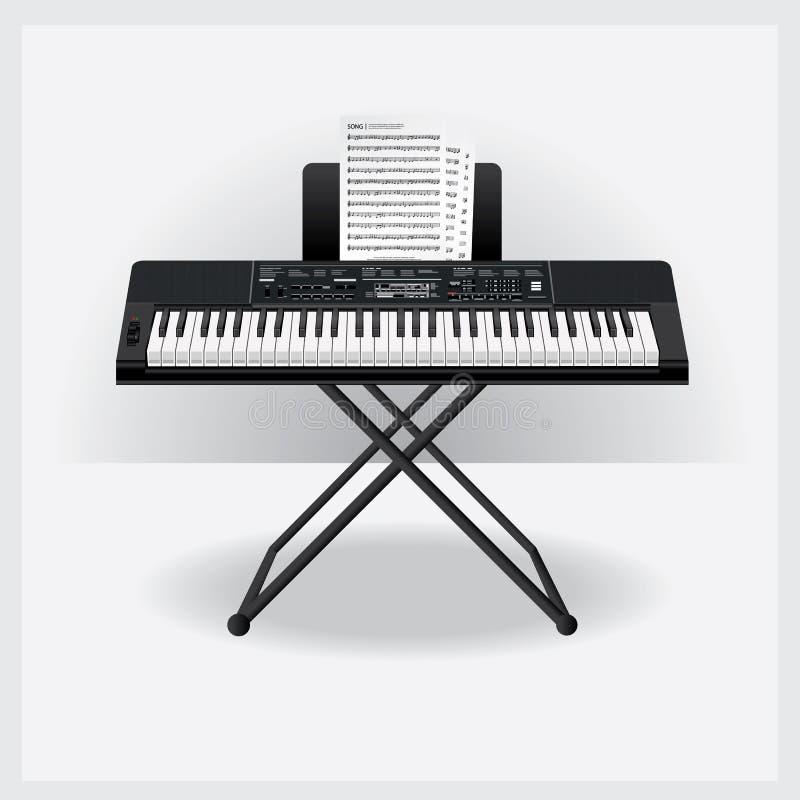 有歌曲笔记的键盘仪器 库存例证
