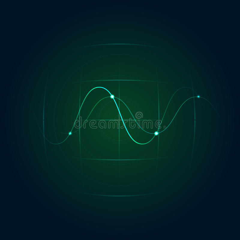 有正弦波的绿色雷达 也corel凹道例证向量 向量例证