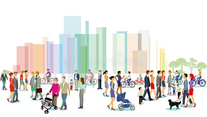 有步行者和自行车骑士的城市 库存例证