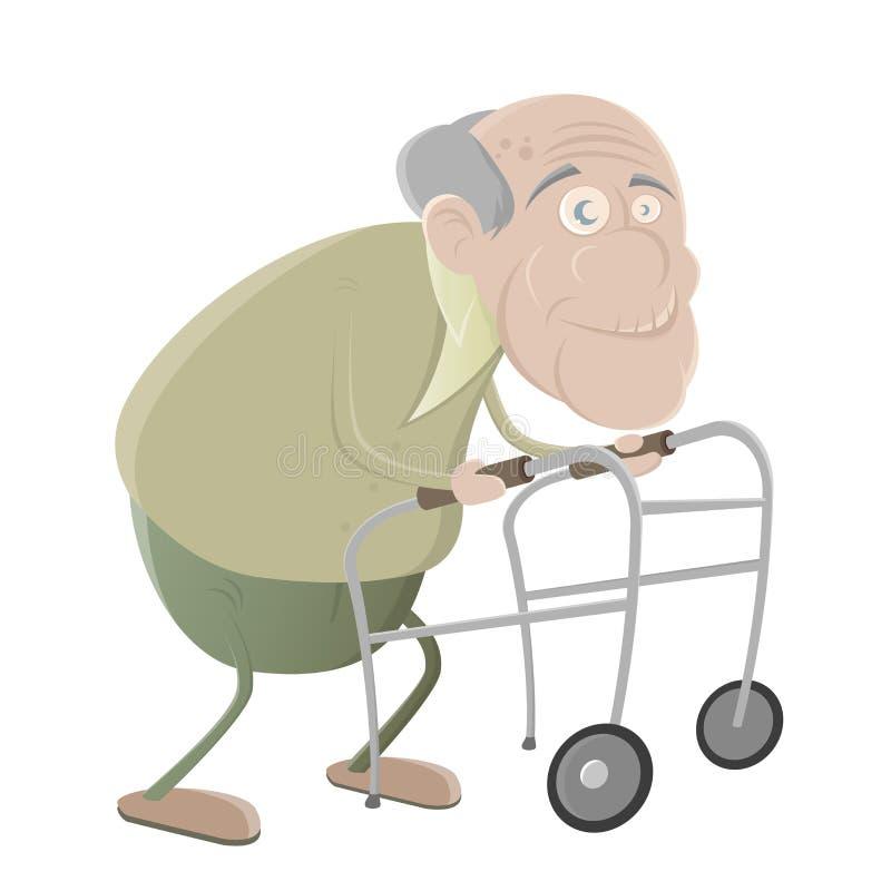 有步行者的老人 库存例证