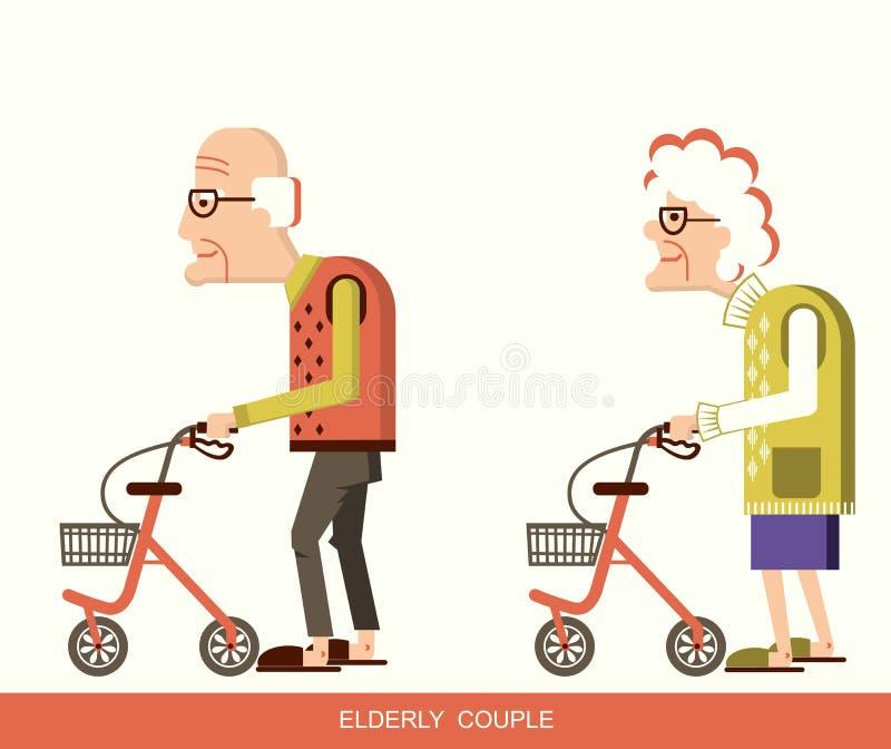有步行者的老年人 库存例证