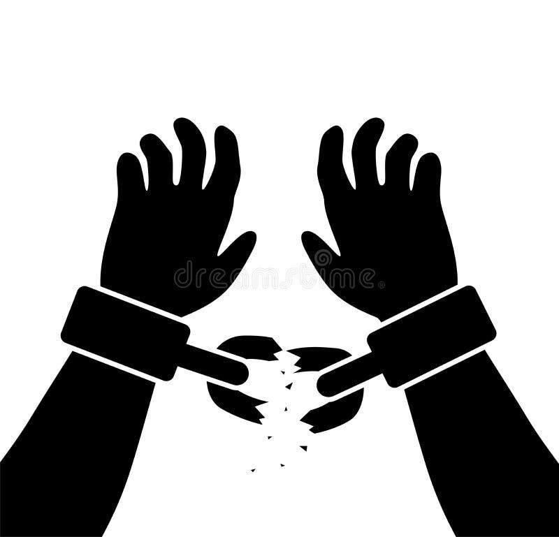 有残破的链子的人的被举的手 向量例证