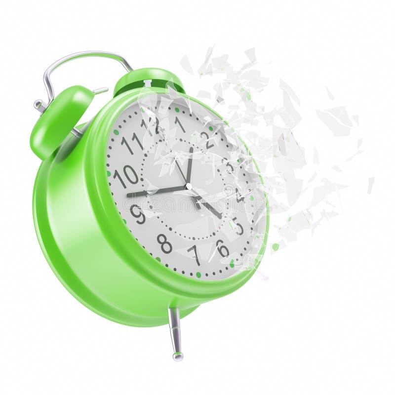 有残破的玻璃的高昂时钟闹钟 皇族释放例证