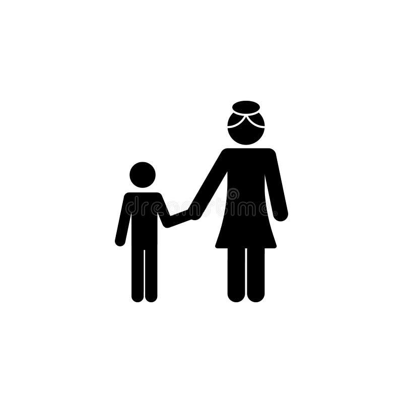 有母亲举行的儿子递象 愉快的家庭象的元素 优质质量图形设计象 标志,标志汇集ico 向量例证