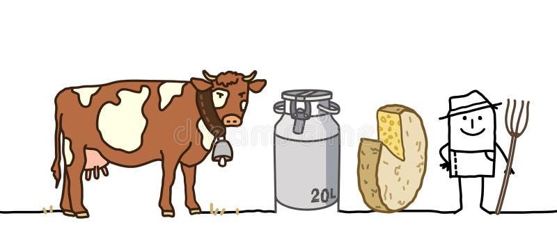 有母牛和乳酪的动画片农夫 皇族释放例证