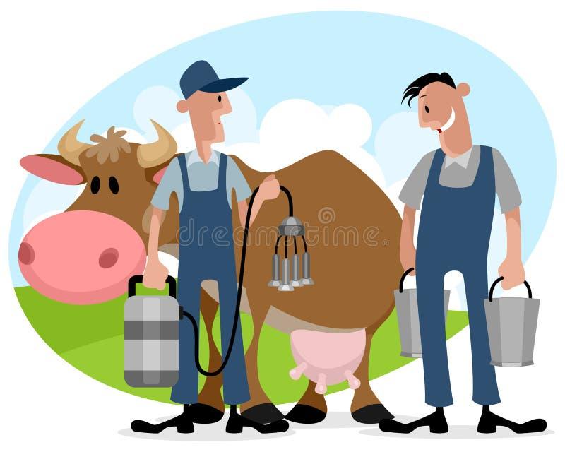 有母牛的农夫 库存例证