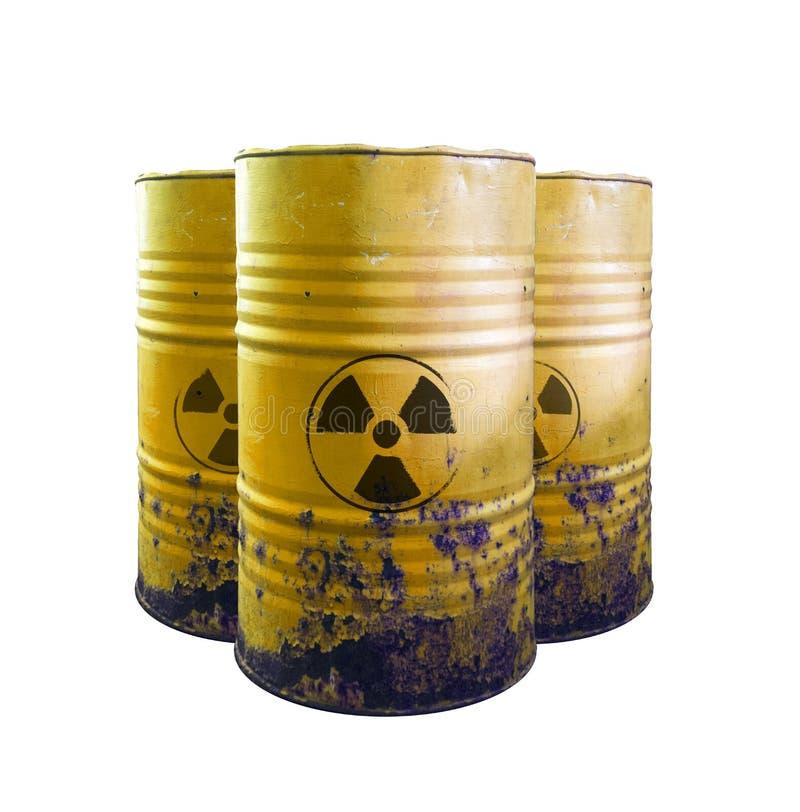 有毒废料被隔绝的黄色桶 在桶的酸 当心o 图库摄影