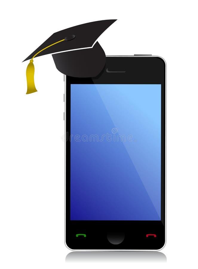 有毕业帽子的电话 库存例证