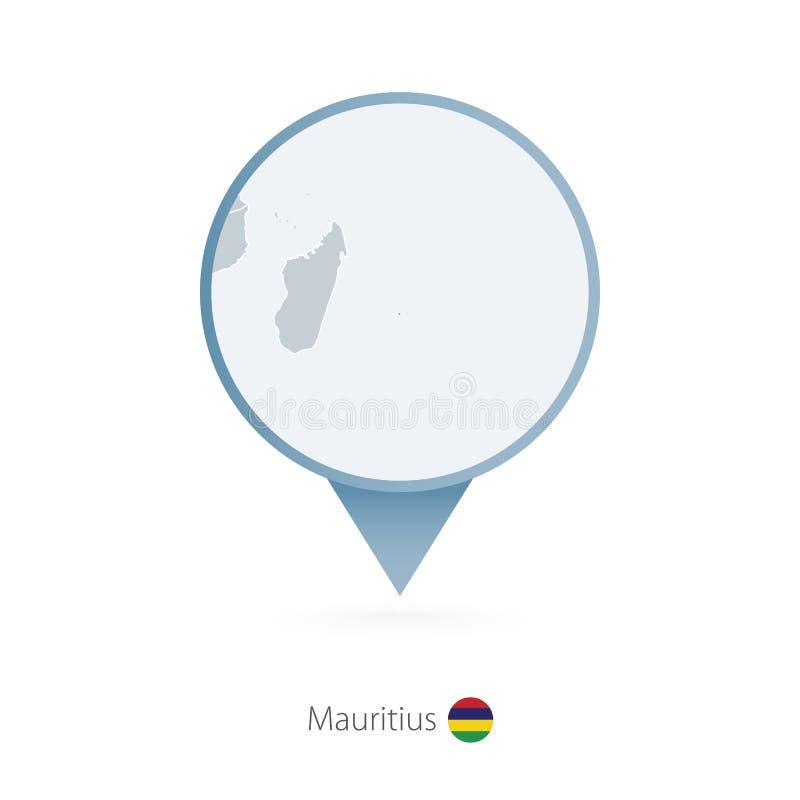 有毛里求斯和邻国详细的地图的地图别针  皇族释放例证