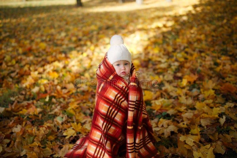 有毯子的女孩在秋天公园 库存图片
