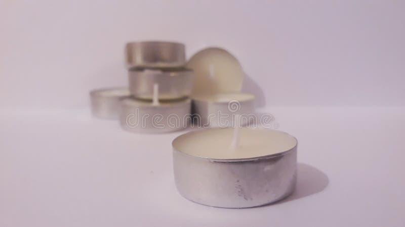 有气味的白色蜡烛 库存照片