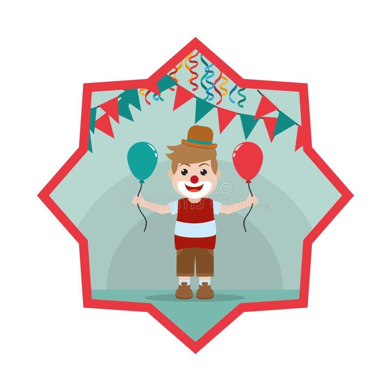 有气球和党旗子的好小丑男孩在星里面 向量例证