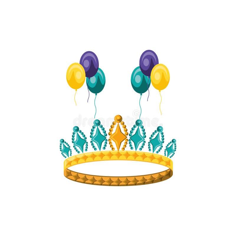 有气球氦气的冠女王/王后 向量例证