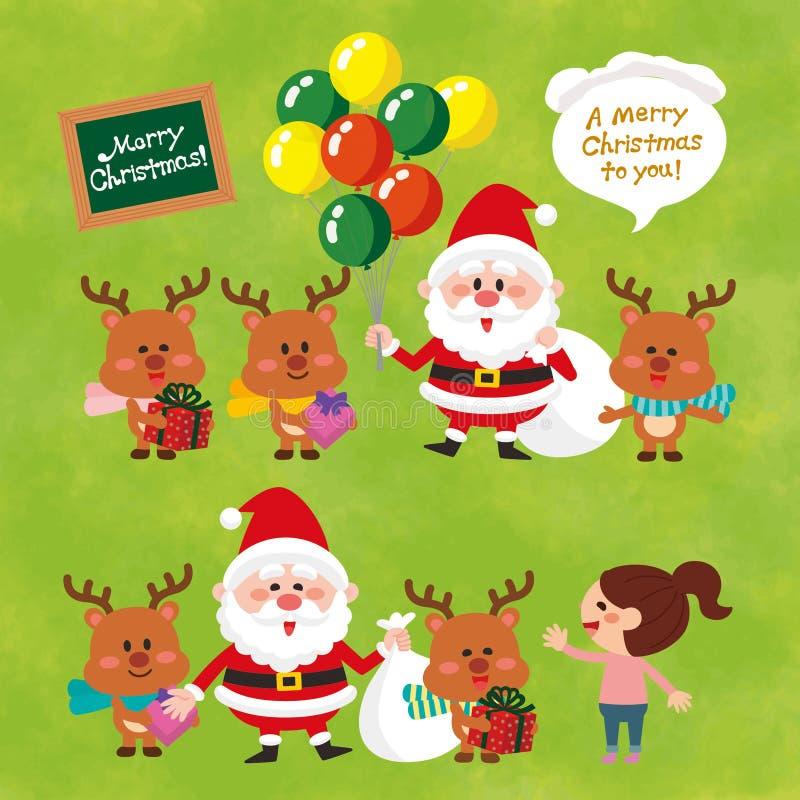 有气球的圣诞老人 袋子克劳斯・圣诞老人 逗人喜爱的驯鹿 向量例证