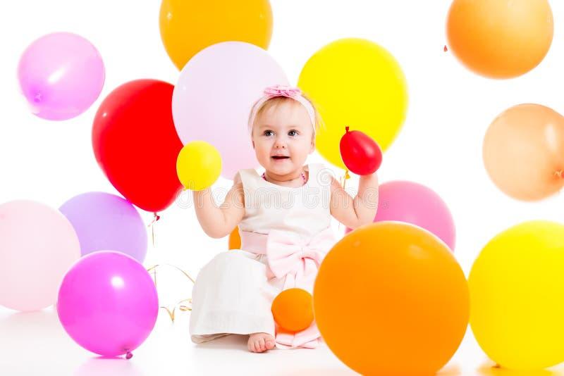 有气球的女婴 图库摄影
