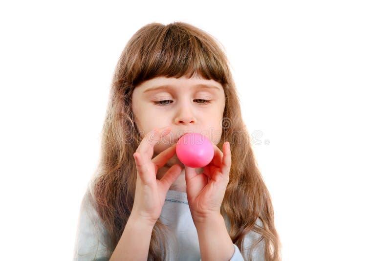 有气球的小女孩 库存图片