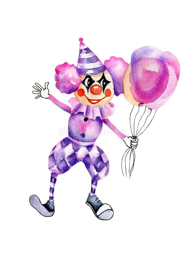 有气球的水彩滑稽的马戏团小丑 向量例证