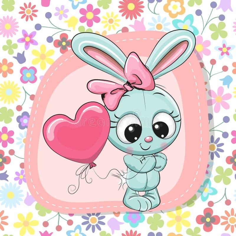 有气球的逗人喜爱的动画片兔子女孩 皇族释放例证