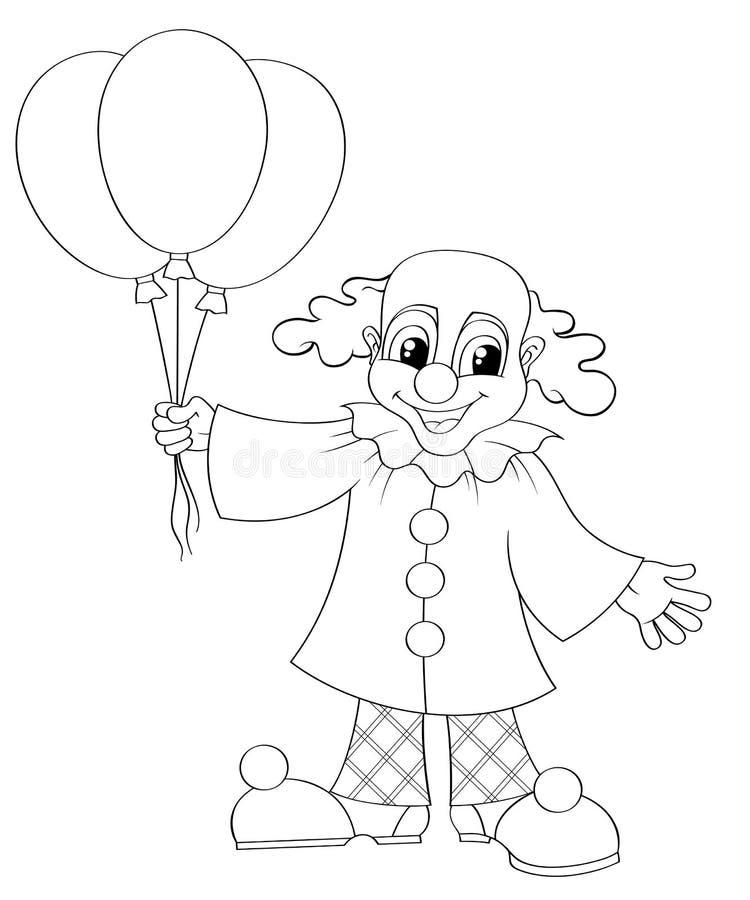 有气球的滑稽的小丑 库存例证