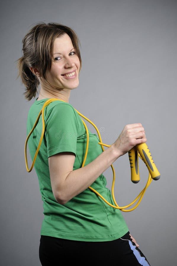有氧运动讲师快乐微笑 免版税图库摄影