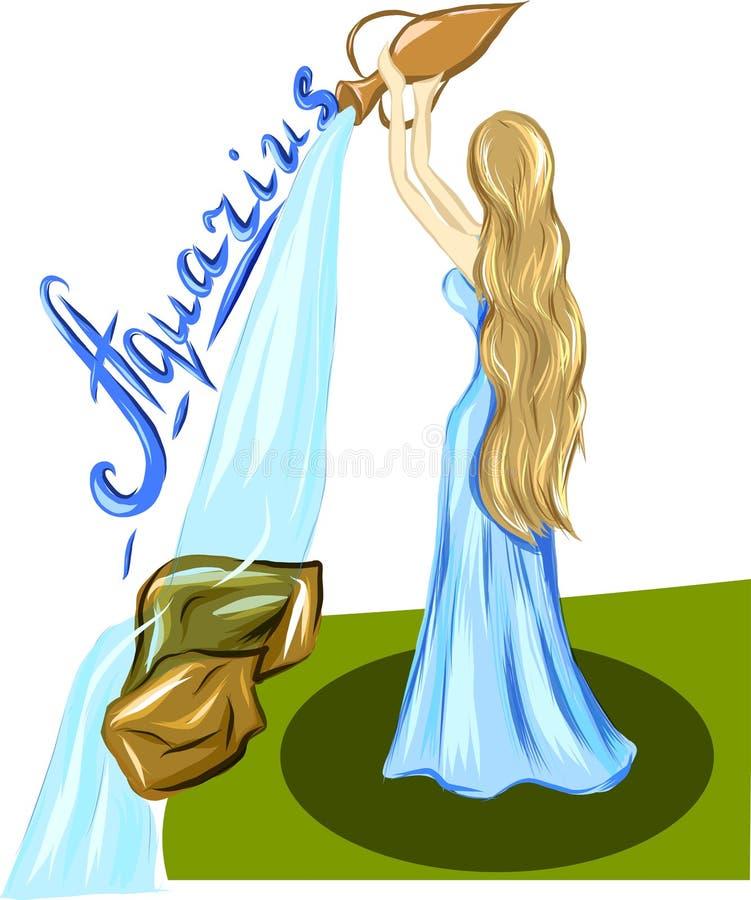 有水和文本宝瓶星座的女孩 向量例证