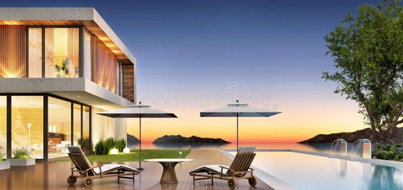 有水池的豪华放松的房子和大阳台 库存图片