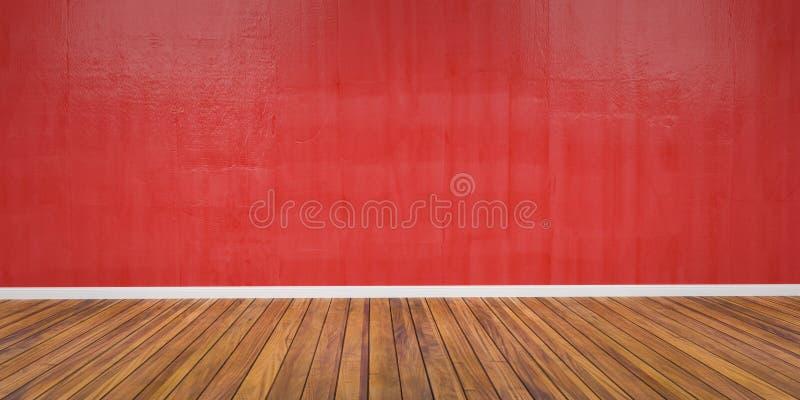有水泥红色墙壁和木地板3D例证的室 库存图片