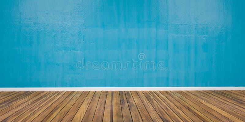 有水泥蓝色墙壁和木地板3D例证的室 免版税库存图片