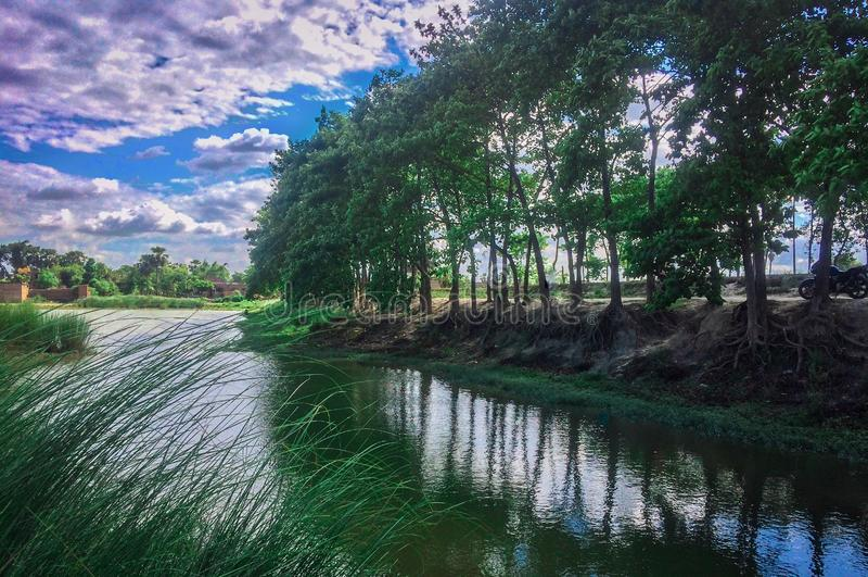 有池塘的印度村庄 库存照片