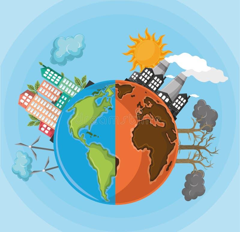 有污染和一半地球的半地球沙漠与可选择能源 库存例证