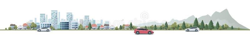 有汽车和城市自然的B都市风景全景街道路 库存例证