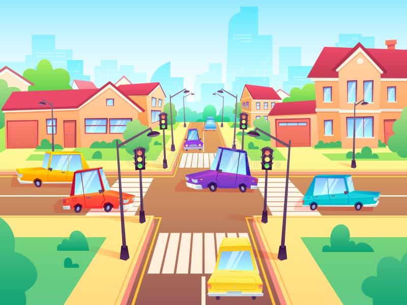 有汽车的交叉路 城市郊区堵车、街道行人穿越道有红灯的和路交叉点动画片传染媒介 向量例证
