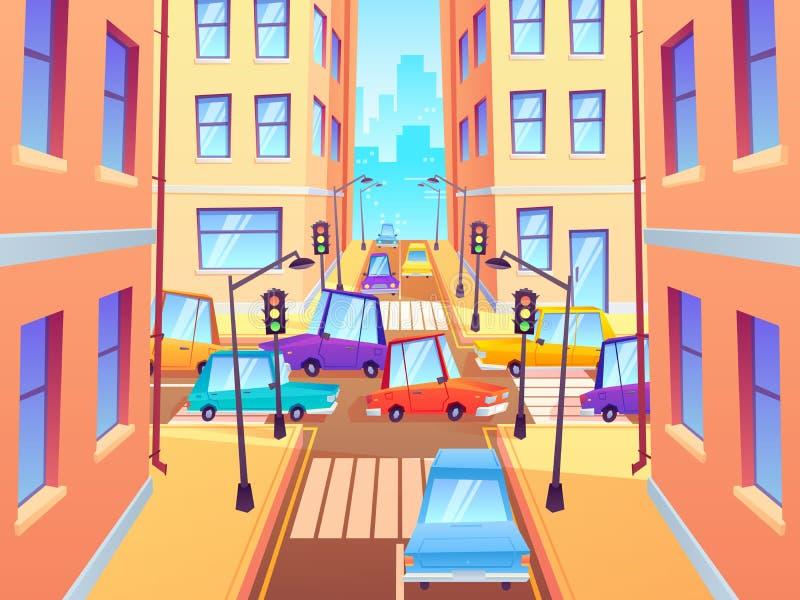 有汽车的城市交叉路 公路交通交叉点、镇街道汽车果酱和行人穿越道有红灯动画片的 库存例证
