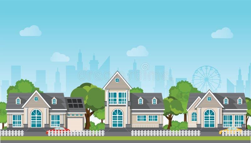 有汽车的现代家庭房子 向量例证