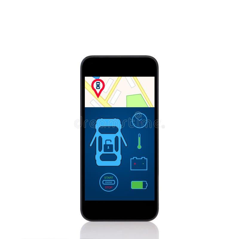 有汽车警报接口的流动接触电话在屏幕上 免版税库存照片
