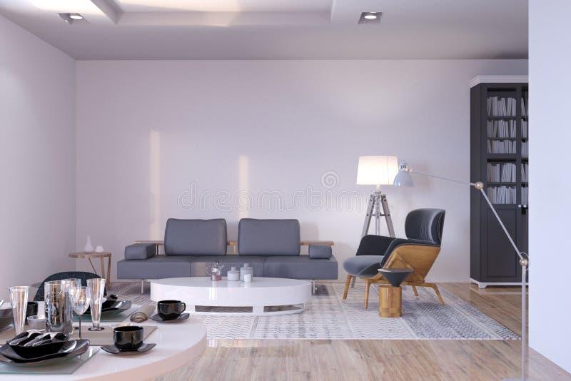 有沙发和扶手椅子的新的当代客厅 库存例证