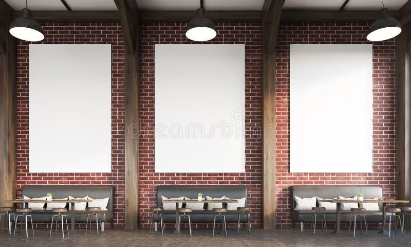 有沙发和砖墙的餐馆 库存例证