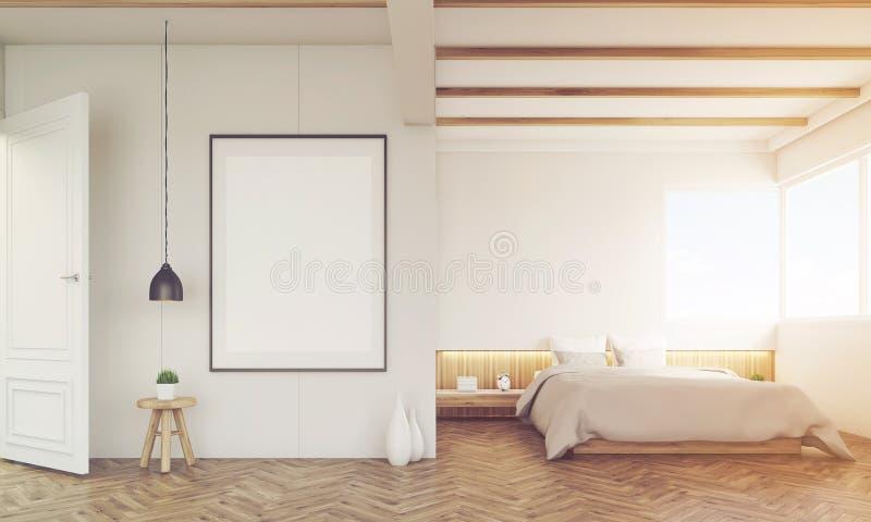 有沙发和被构筑的海报的卧室,被定调子 向量例证