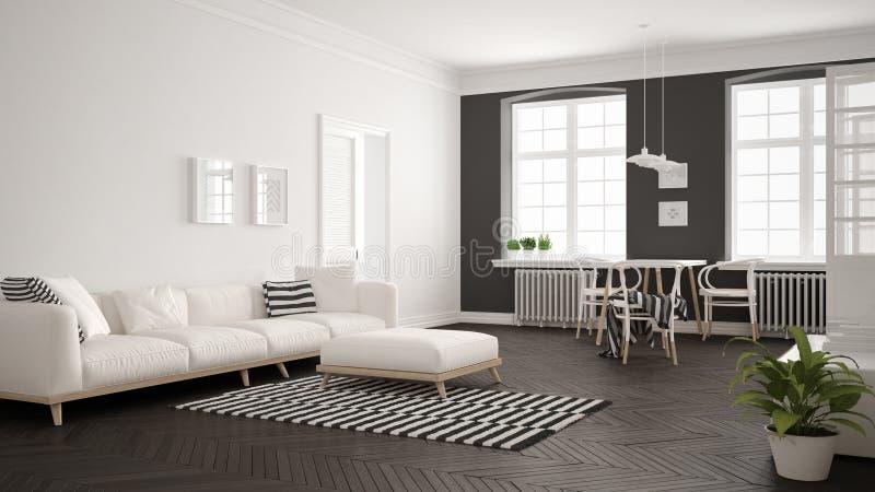 有沙发和餐桌的, scandi明亮的最低纲领派客厅 向量例证