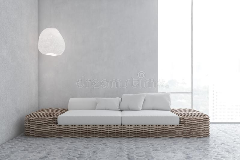 有沙发的具体地板客厅 皇族释放例证