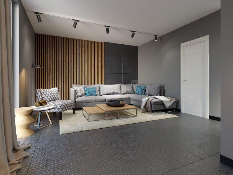 有沙发的最低纲领派当代客厅在平展顶楼样式 向量例证