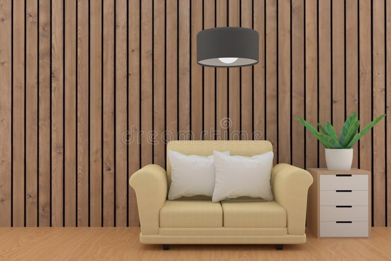 有沙发的空的白色板条室和架子在3D设计 向量例证