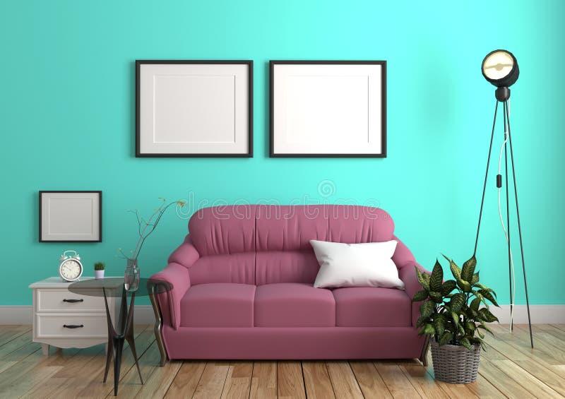 有沙发的绿色薄荷的在木地板内部的墙壁&餐具柜 3d?? 皇族释放例证
