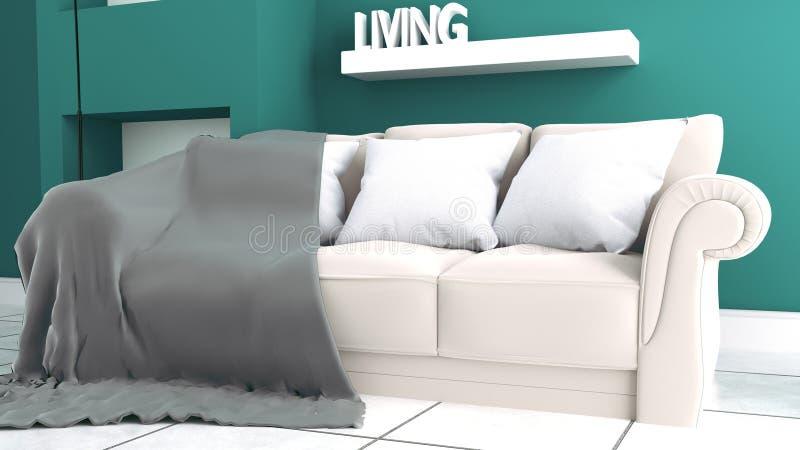 有沙发的绿色薄荷的在陶瓷地板内部的墙壁&餐具柜 3d?? 皇族释放例证