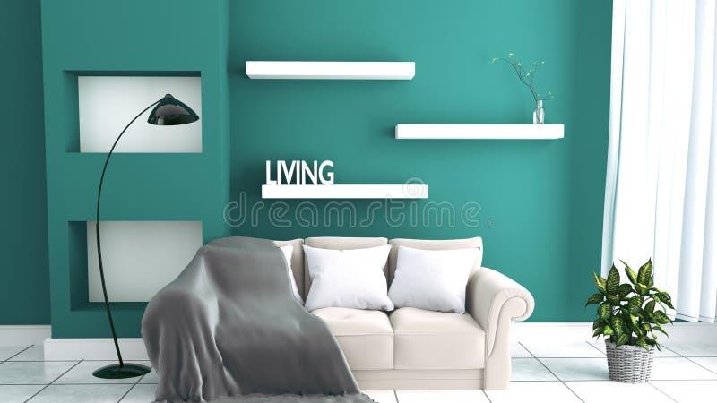 有沙发的绿色薄荷的在陶瓷地板内部的墙壁&餐具柜 3d?? 向量例证