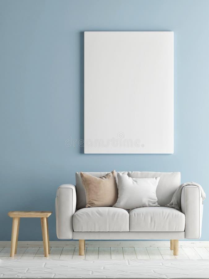 有沙发的蓝色海报的室和嘲笑 库存例证